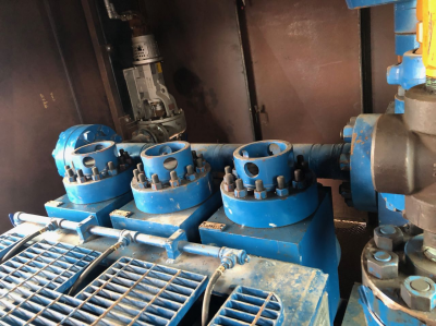 two (2) used ellis william engineering co. model e-1000, 1000 hp triplex mud pumps with cat 3508 diesel